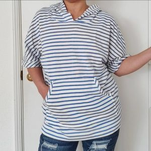 JANE AND DELANCEY STRIPE BLUE HOODIE SHIRT SZ S